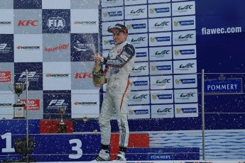 World © Octane Photographic Ltd. FIA European F3 Championship, Silverstone, UK, April 19th 2014 - Race 1 podium. 3rd - Carlin - Jordan King. Digital  Digital Ref : 0909lb1d7080