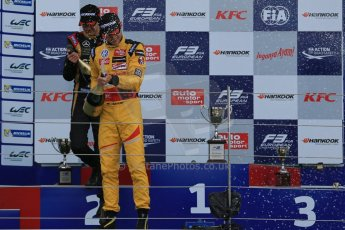 World © Octane Photographic Ltd. FIA European F3 Championship, Silverstone, UK, April 19th 2014 - Race 1 podium. 1st - Jagonya Ayam with Carlin, Tom Blomqvist. 2nd  - Prema Powerteam - Esteban Ocon. Digital  Digital Ref : 0909lb1d7086