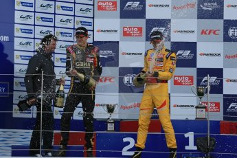World © Octane Photographic Ltd. FIA European F3 Championship, Silverstone, UK, April 19th 2014 - Race 1 podium. 1st - Jagonya Ayam with Carlin, Tom Blomqvist. 2nd  - Prema Powerteam - Esteban Ocon. Digital  Digital Ref : 0909lb1d7092