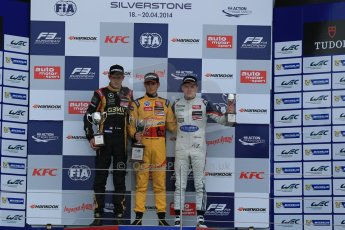 World © Octane Photographic Ltd. FIA European F3 Championship, Silverstone, UK, April 19th 2014 - Race 1 podium. 1st - Jagonya Ayam with Carlin, Tom Blomqvist. 2nd  - Prema Powerteam - Esteban Ocon. 3rd Carlin - Jordan King. Digital  Digital Ref : 0909lb1d7116