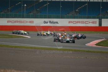 World © Octane Photographic Ltd. FIA European F3 Championship, Silverstone, UK, April 20th 2014 - Race 3. Prema Powerteam - Dallara F312 Mercedes – Antonio Fuoco and Esteban Ocon lead the pack on the opening lap. Digital Ref : 0911lb1d1551