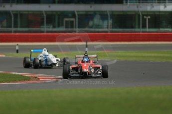 World © Octane Photographic Ltd. BRDC Formula 4 Qualifying, Silverstone, UK, Saturday 16th August 2014. MSV F4-013. HHC Motorsport. Will Palmer and Douglas Motorsport. Rodrigo Fonseca. Digital Ref : 1075LB1D4952