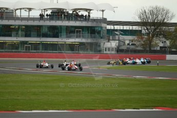 World © Octane Photographic Ltd. BRDC Formula 4 Championship. MSV F4-013. Silverstone, Sunday 27th April 2014. Hillspeed - Gustavo Lima heads the pack. Digital Ref : 0914lb1d1921