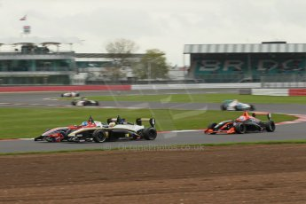 World © Octane Photographic Ltd. BRDC Formula 4 Championship. MSV F4-013. Silverstone, Sunday 27th April 2014. HHC Motorsport - Will Palmer and Sennan Fielding go wheel to wheel. Digital Ref : 0914lb1d2055