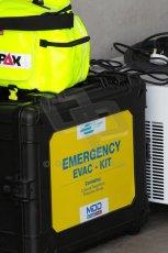 World © Octane Photographic Ltd. FIA Formula E testing – Donington Park 19th August 2014. Spark-Renault SRT_01E. 1st aid kit necessary for electric shocks. Digital Ref : 1077LB1D5126