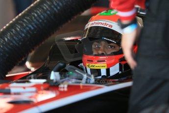 World © Octane Photographic Ltd. FIA Formula E testing – Donington Park 19th August 2014. Spark-Renault SRT_01E. Mahindra Racing - Karun Chandhok. Digital Ref : 1077LB1D5451