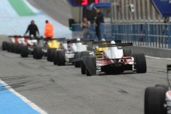 World © Octane Photographic Ltd. Eurocup Formula Renault 2.0 Championship testing. Jerez de la Frontera, Thursday 27th March 2014. The field lines up to leave the pitlane. Digital Ref :  0900cb7d8271