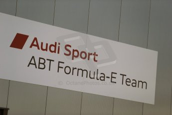 World © Octane Photographic Ltd. FIA Formula E testing Donington Park 10th July 2014. Audi Sport ABT Formula E team logo. Digital Ref : 1032CB1D3265