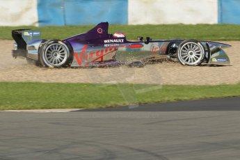 World © Octane Photographic Ltd. FIA Formula E testing Donington Park 10th July 2014. Spark-Renault SRT_01E. Virgin Racing - Sam Bird through the gravel. Digital Ref : 1032CB1D4019