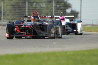 World © Octane Photographic Ltd. FIA Formula E testing Donington Park 10th July 2014. Spark-Renault SRT_01E. Venturi - Nick Heidfeld and Andretti Autosport - Franck Montagny. Digital Ref : 1032CB1D4296