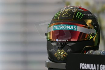 World © Octane Photographic Ltd. Thursday 17th July 2014. German GP, Hockenheim - Formula 1 FIA Press Conference. Mercedes AMG Petronas F1 W05 Hybrid - Nico Rosberg Helment for the weekend. Digital Ref: 1033LB1D3904