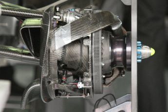World © Octane Photographic Ltd. Sunday 20th July 2014. German GP, Hockenheim. - Formula 1 Pitlane. Mercedes AMG Petronas F1 W05 Hybrid front brake (with disc) – Nico Rosberg. Digital Ref: