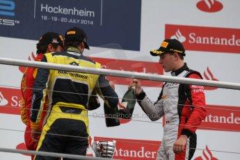 World © Octane Photographic Ltd. Sunday 20th July 2014. GP2 Race 2 – German GP - Hockenheim. Stefano Coletti - Racing Engineering (1st), Felipe Nasr - Carlin (2nd) and Stoffel Vandoorne - ART Grand Prix (3rd). Digital Ref : 1050CB7D6135
