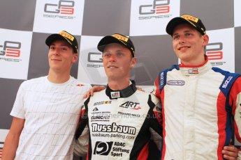 World © Octane Photographic Ltd. Saturday 19th July 2014. GP3 Race 1 press conference. German GP, Hockenheim. Marvin Kirchhofer - ART Grand Prix (1st), Alex Lynn - Carlin (2nd) and Emil Bernstorff - Carlin (3rd). Digital Ref : 1047CB7D6370
