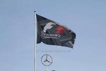 World © Octane Photographic Ltd. Saturday 19th July 2014. F1 flag and Mercedes badge. Digital Ref: