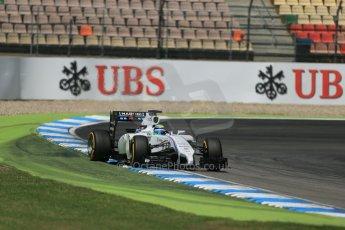 World © Octane Photographic Ltd. Saturday 19th July 2014. German GP, Hockenheim. - Formula 1 Qualifying. Williams Martini Racing FW36 – Felipe Massa on the edge of traction. Digital Ref: