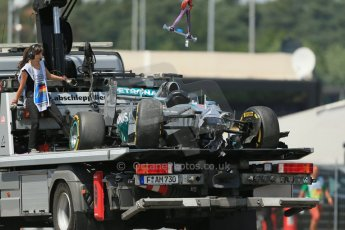 World © Octane Photographic Ltd. Saturday 19th July 2014. German GP, Hockenheim. - Formula 1 Qualifying. Mercedes AMG Petronas F1 W05 Hybrid – Lewis Hamilton's wrecked car being recovered after rear brake failure. Digital Ref: