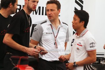 World © Octane Photographic Ltd. Thursday 17th July 2014. GP2 Paddock – German GP - Hockenheim. Takuya Izawa - ART Grand Prix and Emmanuel Esnault, McLaren Support operations Manager. Digital Ref : 1034CB7D4556