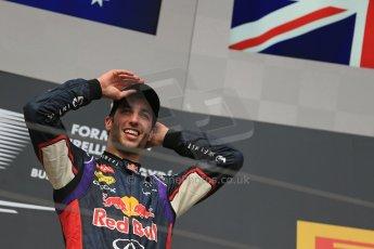 World © Octane Photographic Ltd. Sunday 27th July 2014. Hungarian GP, Hungaroring - Budapest. Podium. Infiniti Red Bull Racing RB10 – Daniel Ricciardo. Digital Ref: 1074LB1D4400