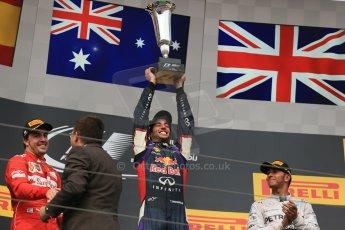 World © Octane Photographic Ltd. Sunday 27th July 2014. Hungarian GP, Hungaroring - Budapest. Podium. Infiniti Red Bull Racing RB10 – Daniel Ricciardo. Digital Ref: 1074LB1D4422