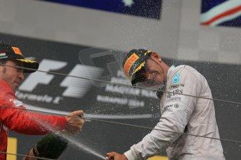 World © Octane Photographic Ltd. Sunday 27th July 2014. Hungarian GP, Hungaroring - Budapest. Podium. Mercedes AMG Petronas F1 W05 Hybrid – Lewis Hamilton and Scuderia Ferrari F14T - Fernando Alonso. Digital Ref: 1074LB1D4528
