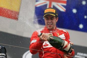 World © Octane Photographic Ltd. Sunday 27th July 2014. Hungarian GP, Hungaroring - Budapest. Podium. Scuderia Ferrari F14T - Fernando Alonso. Digital Ref: 1074LB1D4563