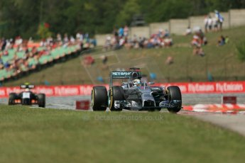 World © Octane Photographic Ltd. 2014 Friday 25th July 2014. Hungarian GP, Hungaroring - Budapest. Practice 2. Mercedes AMG Petronas F1 W05 Hybrid – Lewis Hamilton. Digital Ref: 1057LB1D0898
