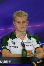 World © Octane Photographic Ltd. Thursday 24th July 2014. Hungarian GP, Hungaroring - Budapest - Formula 1 FIA Press Conference. Caterham F1 Team CT05 – Marcus Ericsson. Digital Ref : 1054LB1D8911