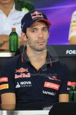 World © Octane Photographic Ltd. Thursday 24th July 2014. Hungarian GP, Hungaroring - Budapest Formula 1 FIA Press Conference. Scuderia Toro Rosso STR9 - Jean-Eric Vergne. Digital Ref: 1054LB1D8921