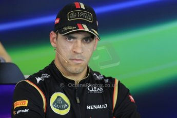 World © Octane Photographic Ltd. Thursday 24th July 2014. Hungarian GP, Hungaroring - Budapest - Formula 1 FIA Press Conference. Lotus F1 Team E22 – Pastor Maldonado. Digital Ref: 1054LB1D9096
