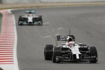 World © Octane Photographic Ltd. Tuesday 13th May 2014. Circuit de Catalunya - Spain - Formula 1 In-Season testing. McLaren Mercedes MP4/29 - Jenson Button and Mercedes AMG Petronas F1 W05 Hybrid – Lewis Hamilton. Digital Ref: