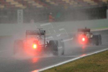 World © Octane Photographic Ltd. Tuesday 13th May 2014. Circuit de Catalunya - Spain - Formula 1 In-Season testing. Mercedes AMG Petronas F1 W05 Hybrid – Lewis Hamilton and Lotus F1 Team E22 – Charles Pic. Digital Ref: