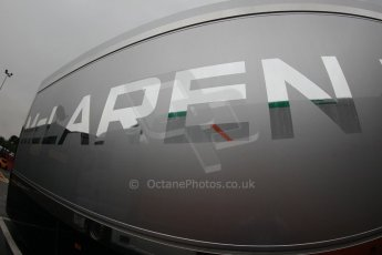 World © Octane Photographic Ltd. Tuesday 13th May 2014. Circuit de Catalunya - Spain - Formula 1 In-Season testing. McLaren Mercedes logo on transporter. Digital Ref: