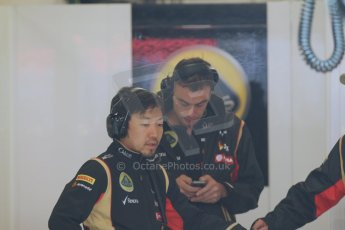World © Octane Photographic Ltd. Tuesday 13th May 2014. Circuit de Catalunya - Spain - Formula 1 In-Season testing. Lotus F1 Team E22 – Ayov Komastu - Race Engineer. Digital Ref: