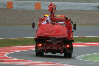 World © Octane Photographic Ltd. Tuesday 13th May 2014. Circuit de Catalunya - Spain - Formula 1 In-Season testing. Scuderia Ferrari F14T – Kimi Raikkonen's car is recovered after stopping on track. Digital Ref: