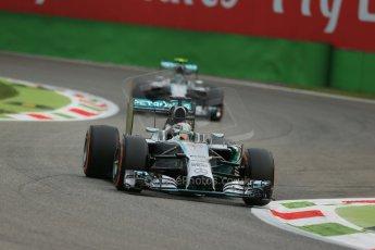 World © Octane Photographic Ltd. Friday 5th September 2014, Italian GP, Monza - Italy  - Formula 1 Practice 1. Mercedes AMG Petronas F1 W05 Hybrid – Lewis Hamilton and Nico Rosberg. Digital Ref: 1094LB1D3314