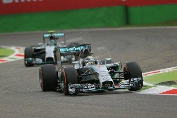 World © Octane Photographic Ltd. Friday 5th September 2014, Italian GP, Monza - Italy  - Formula 1 Practice 1. Mercedes AMG Petronas F1 W05 Hybrid – Lewis Hamilton and Nico Rosberg. Digital Ref: 1094LB1D3375