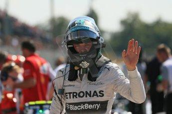 World © Octane Photographic Ltd. Saturday 6th September 2014, Italian GP, Monza - Italy. - Formula 1 Qualifying Parc Ferme. Mercedes AMG Petronas F1 W05 Hybrid - Nico Rosberg. Digital Ref: 1106LB1D6252
