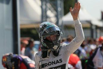 World © Octane Photographic Ltd. Saturday 6th September 2014, Italian GP, Monza - Italy. - Formula 1 Qualifying Parc Ferme. Mercedes AMG Petronas F1 W05 Hybrid - Nico Rosberg. Digital Ref: 1106LB1D6263