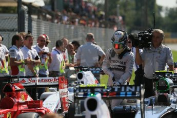 World © Octane Photographic Ltd. Saturday 6th September 2014, Italian GP, Monza - Italy. - Formula 1 Qualifying Parc Ferme. Mercedes AMG Petronas F1 W05 Hybrid – Lewis Hamilton. Digital Ref: 1106LB1D6295