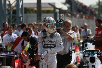 World © Octane Photographic Ltd. Saturday 6th September 2014, Italian GP, Monza - Italy. - Formula 1 Qualifying Parc Ferme. Mercedes AMG Petronas F1 W05 Hybrid – Lewis Hamilton. Digital Ref: 1106LB1D6304