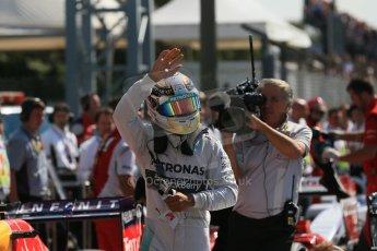 World © Octane Photographic Ltd. Saturday 6th September 2014, Italian GP, Monza - Italy. - Formula 1 Qualifying Parc Ferme. Mercedes AMG Petronas F1 W05 Hybrid – Lewis Hamilton. Digital Ref: 1106LB1D6309