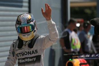 World © Octane Photographic Ltd. Saturday 6th September 2014, Italian GP, Monza - Italy. - Formula 1 Qualifying Parc Ferme. Mercedes AMG Petronas F1 W05 Hybrid – Lewis Hamilton. Digital Ref: 1106LB1D6314