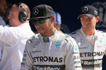 World © Octane Photographic Ltd. Saturday 6th September 2014, Italian GP, Monza - Italy. - Formula 1 Qualifying Parc Ferme. Mercedes AMG Petronas F1 W05 Hybrid – Lewis Hamilton (1st) and Nico Rosberg (2nd). Digital Ref: 1106LB1D6327
