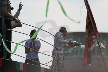 World © Octane Photographic Ltd. Sunday 7th September 2014, Italian GP, Monza - Italy. - Formula 1 Podium. Mercedes AMG Petronas F1 W05 Hybrid – Lewis Hamilton (1st). Digital Ref: 1113LB1D8656