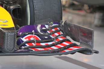 World © Octane Photographic Ltd. Sunday 7th September 2014, Italian GP, Monza - Italy  - Formula 1 Race Preparation. Infiniti Red Bull Racing RB10 front wing detail. Digital Ref : 1096CB7D0411