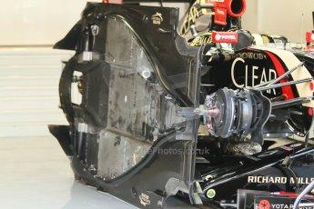 World © Octane Photographic Ltd. Sunday 7th September 2014, Italian GP, Monza - Italy  - Formula 1 Race Preparation. Lotus E22 floor detail. Digital Ref : 1096CB7D0418