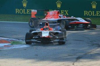 World © Octane Photographic Ltd. Saturday 6th September 2014. GP3 Race 1, Italian GP, Monza - Italy. Dean Stoneman and Patrick Kujala  - Marussia Manor Racing. Digital Ref : 1108LB1D6635