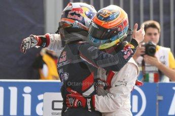 World © Octane Photographic Ltd. Sunday 7th September 2014. GP3 Race 2, Italian GP, Monza - Italy. Dean Stoneman - Marussia Manor Racing congratulated by Alex Lynn - Carlin. Digital Ref : 1110CB7D0675
