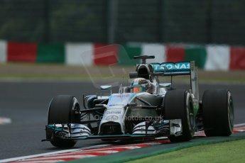 World © Octane Photographic Ltd. Friday 3rd October 2014, Japanese Grand Prix - Suzuka. - Formula 1 Practice 2. Mercedes AMG Petronas F1 W05 Hybrid – Lewis Hamilton. Digital Ref: